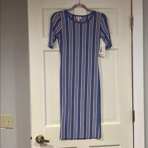 LuLaRoe blue and white striped Julia dress XXS NWT